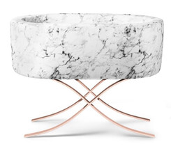 Carrara Marble Bassinet - Curule Rose Gold Base