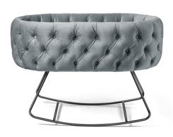 Tufted Dusty Blue Velvet Bassinet - Dondolo Black Base
