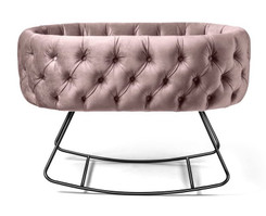 Tufted Dusty Rose Velvet Bassinet - Dondolo Black Base