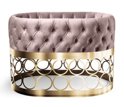Tufted Dusty Rose Velvet Bassinet - Rondo Gold Base