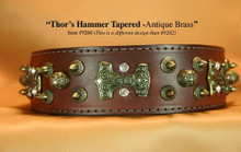 Thor's Hammer Dog Collar in Burgundy Leather and Antique Brass