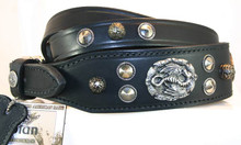 Lead is shown along with the collar. The lead includes three matching ornaments at the handle and three at the snap.