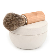 IRIS HANTVERK White Concrete Shaving Bowl, Brush & Sandalwood Soap