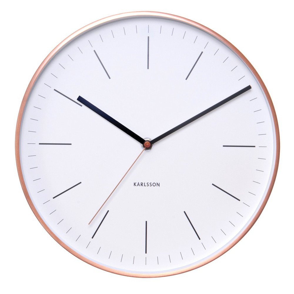 Karlsson copper wall clock watch white the design gift shop karlsson copper case wall clock minimal diameter 275cm amipublicfo Choice Image