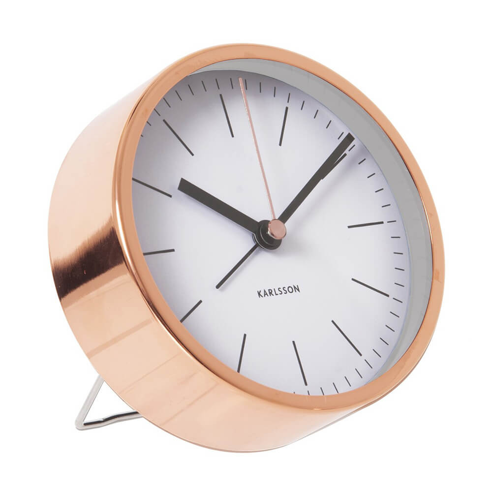 KARLSSON CLOCKS Minimal alarm clock with copper case and white dial