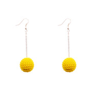 Mon Bijou - Drop Earrings - Cotton Crochet Grey