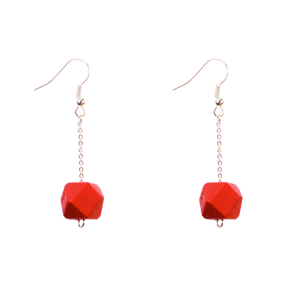 Mon Bijou - Drop Earrings - Red Geometric Faceted Beads | The Design Gift Shop