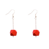 Mon Bijou - Drop Earrings - Red Geometric Faceted Beads
