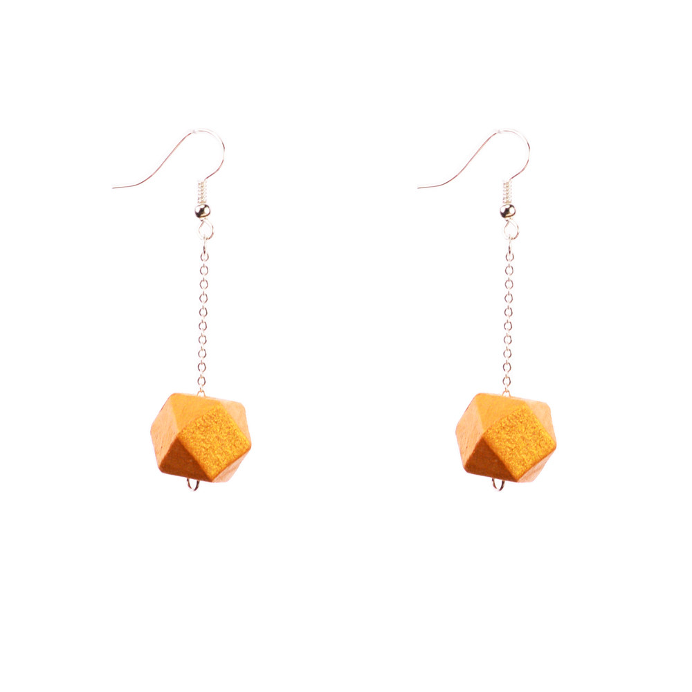 Mon Bijou - Drop Earrings - Gold Geometric Faceted Beads | The Design Gift Shop