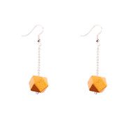 Mon Bijou - Drop Earrings - Gold Geometric Faceted Beads