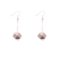 Mon Bijou - Drop Earrings - Silver Geometric Faceted Beads