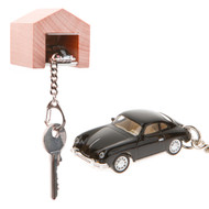 Porsche 356 A keyring with beech wood garage