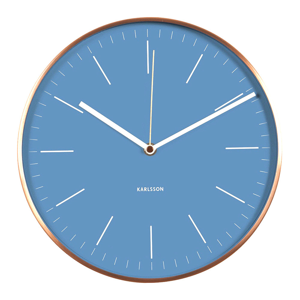 karlsson minimal wall clock with blue dial and copper case diameter 275cm