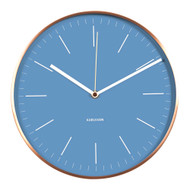 KARLSSON Minimal wall clock with blue dial and copper case ( diameter 27.5cm)