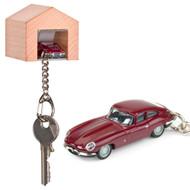 Jaguar E Type keyring with beech wood garage | The Design Gift Shop