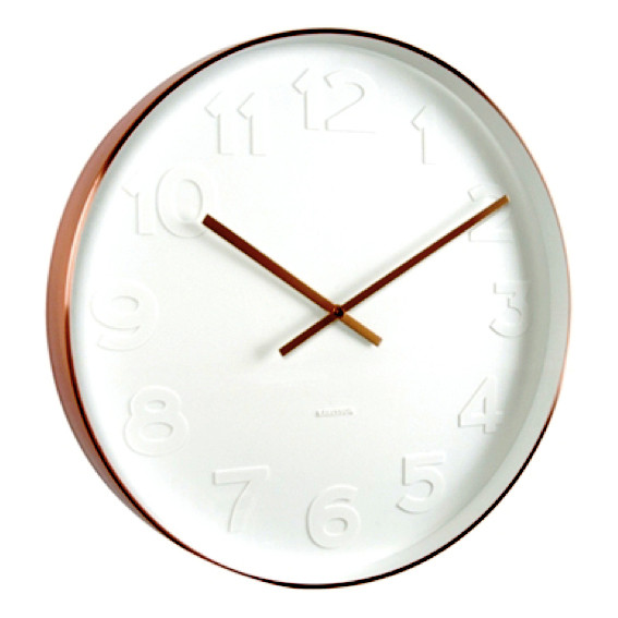 Karlsson Mr White numbers copper rim wall clock - Ø 37.5 x 6 cm | The Design Gift Shop