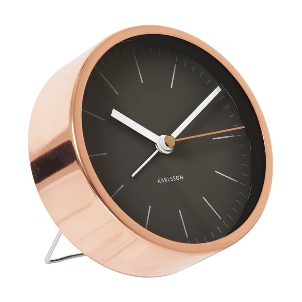 karlsson minimal alarm clock copper case black dial the design gift shop