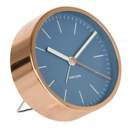 Karlsson alarm clock Minimal copper case blue dial | The Design Gift Shop