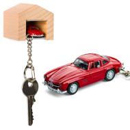 Mercedes-Benz 300 SL keyring with beech wood garage | The Design Gift Shop