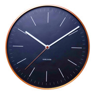 KARLSSON Minimal wall clock with black dial and copper case ( diameter 27.5cm) | The Design Gift Shop