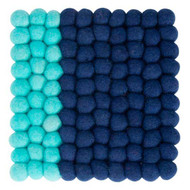 Square felt trivet in aqua and blue