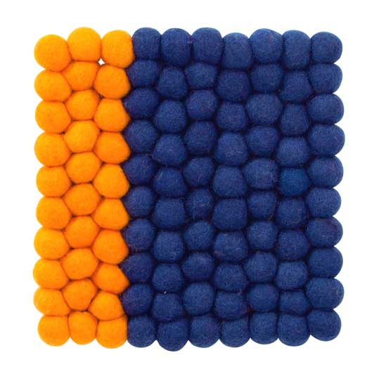 Square felt trivet in orange and blue | The Design Gift Shop