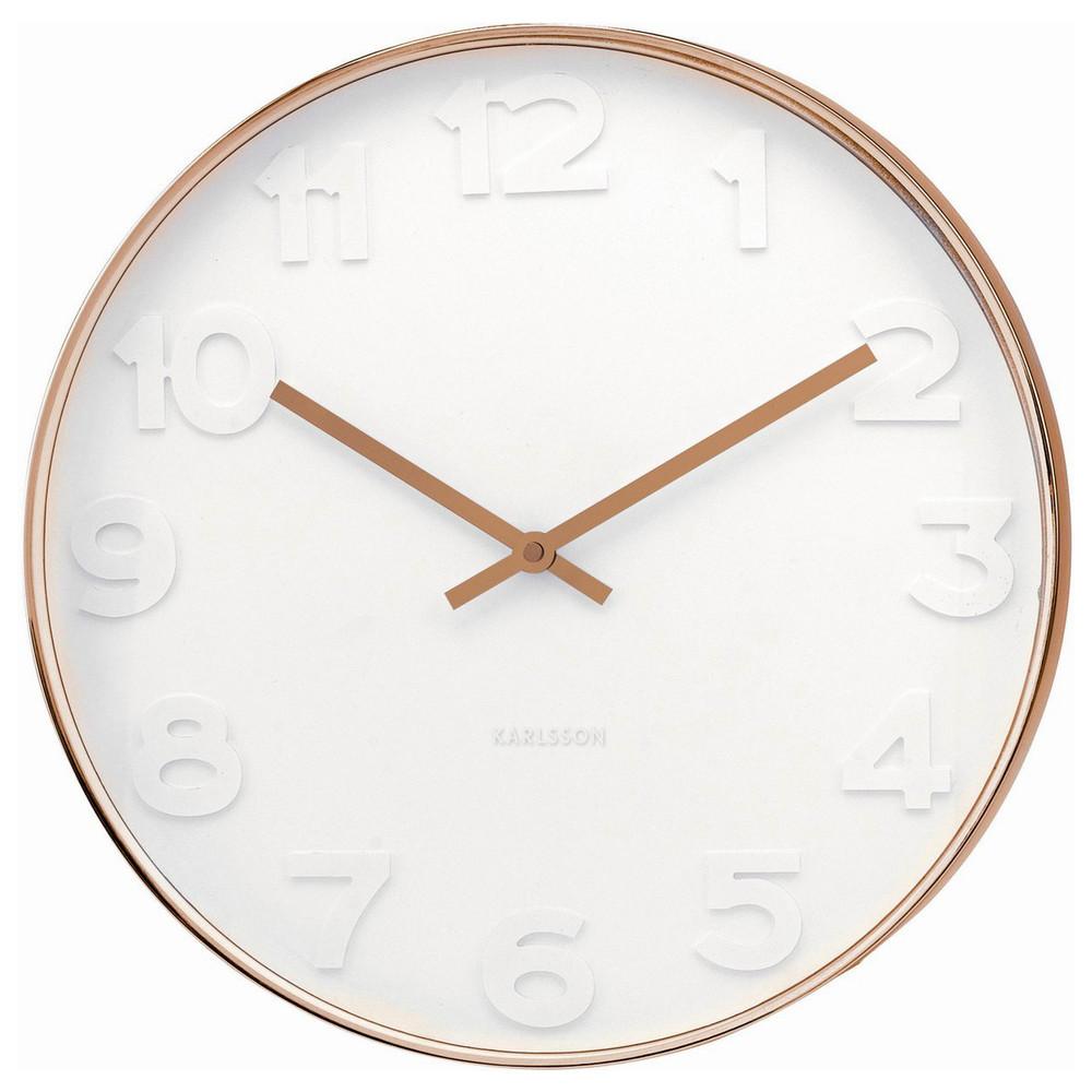 Karlsson Mr White numbers copper rim wall clock - Ø 51 x 7 cm   The Design Gift Shop