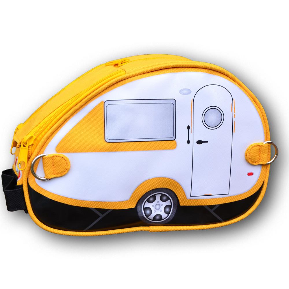 Yellow White Teardrop Caravan Toiletry Bag
