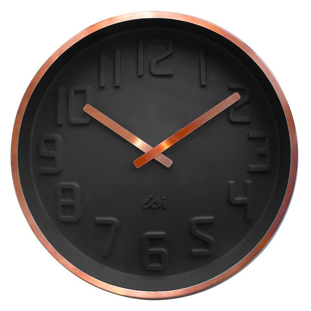 IS Curve black wall clock with copper rim and hands | The Design Gift Shop