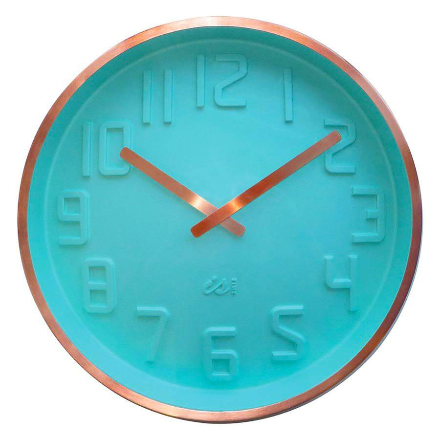 IS Curve mint wall clock with copper rim and copper hands | The Design Gift Shop