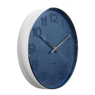 Karlsson Mr Blue numbers steel rim wall clock - Ø 37.5 x 6 cm | The Design Gift Shop