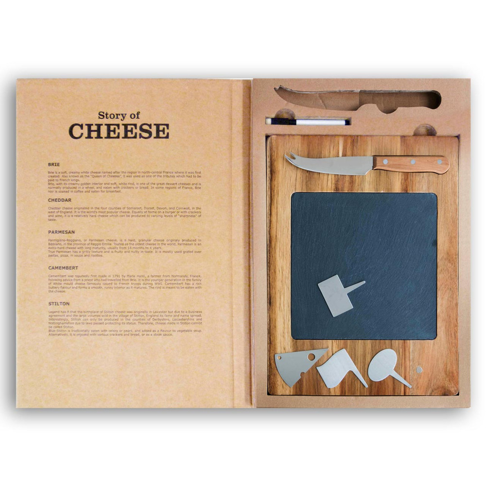 The story of cheese 6 pc serving set, rectangular | The Design Gift Shop