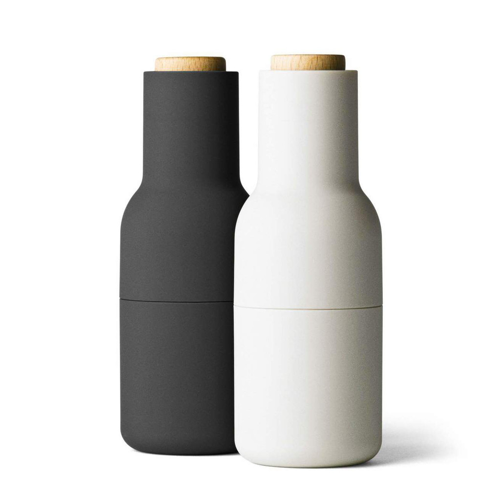 Menu Norm salt & pepper bottle grinder set in carbon / ash | The Design Gift Shop