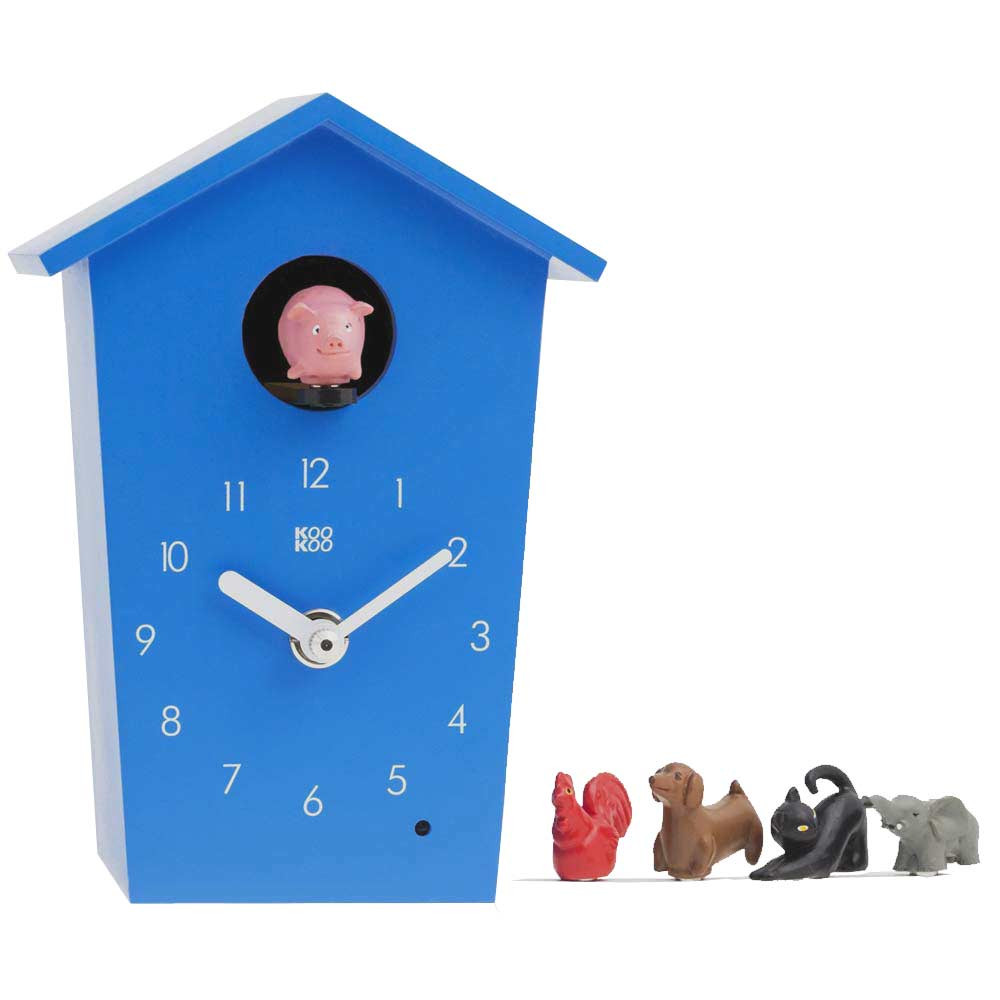 KooKoo AnimalHouse blue wall clock and mantel clock | The Design Gift Shop