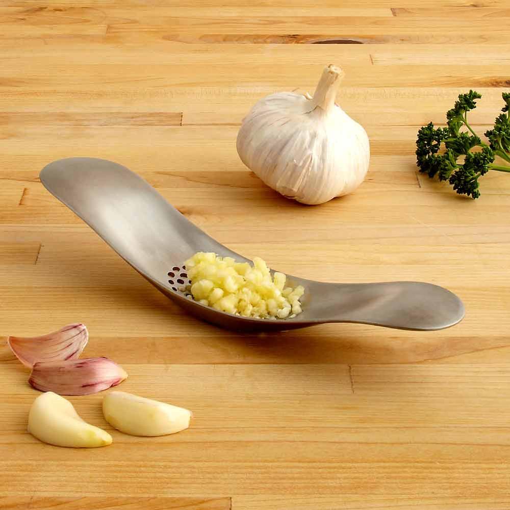 Joseph Joseph Rocker 100 stainless steel garlic crusher | The Design Gift Shop