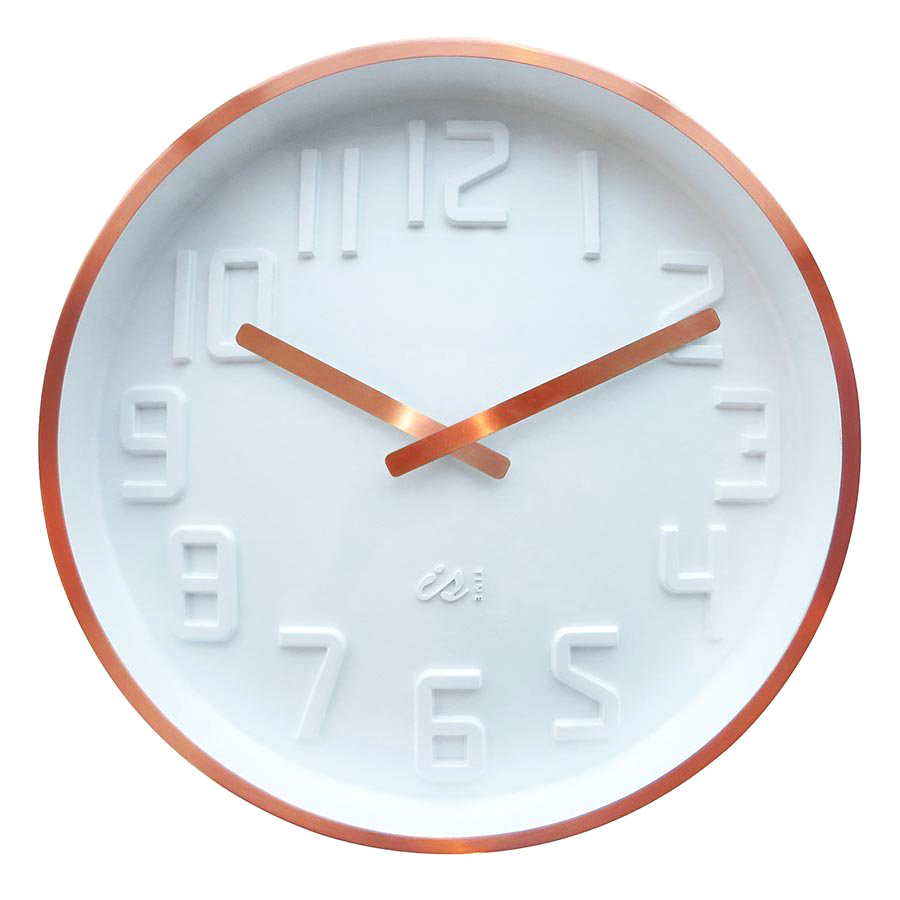 IS Curve white wall clock with copper rim and copper hands   The Design Gift Shop