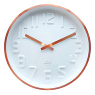IS Curve white wall clock with copper rim and copper hands