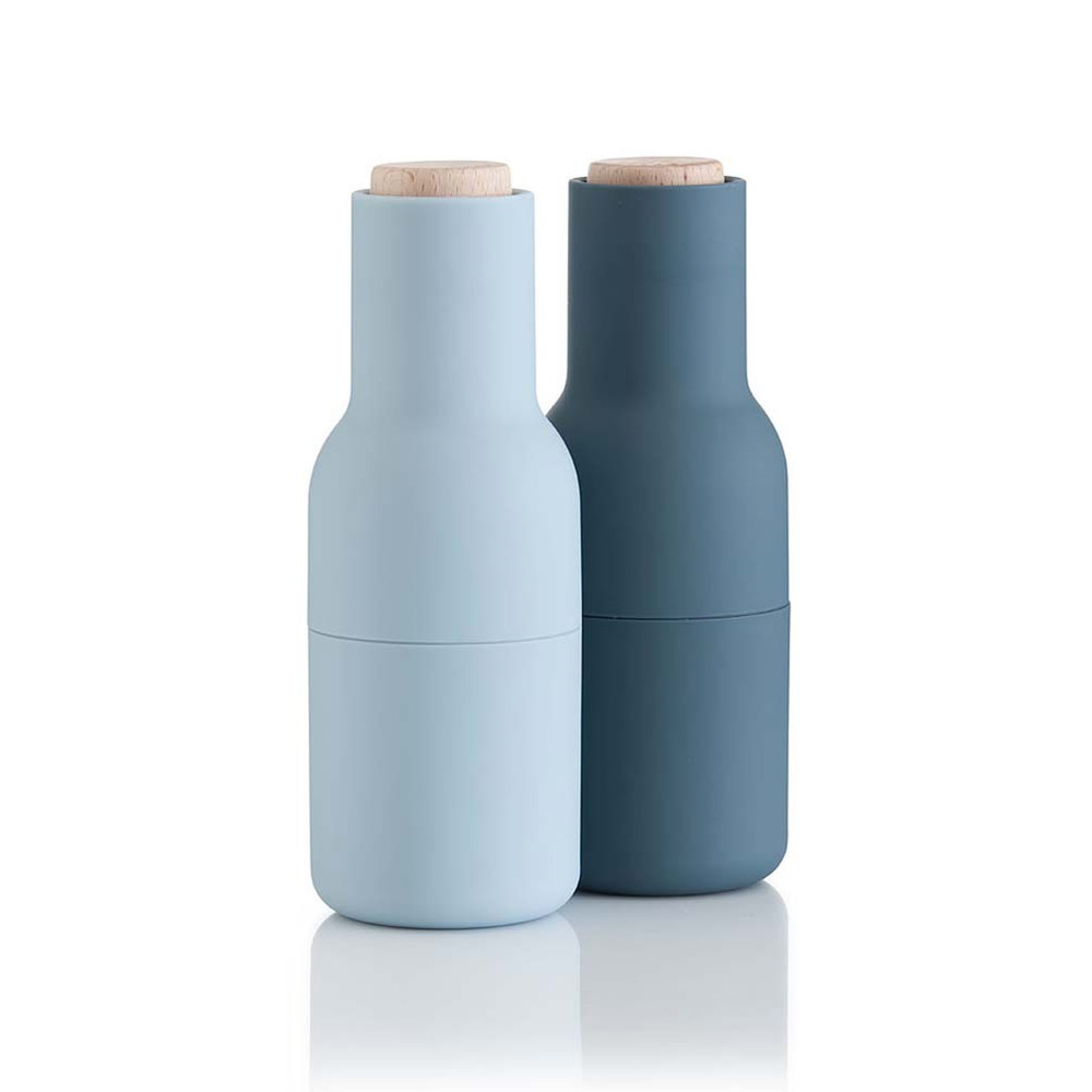 Menu Norm salt & pepper bottle grinder set in blue | The Design Gift Shop