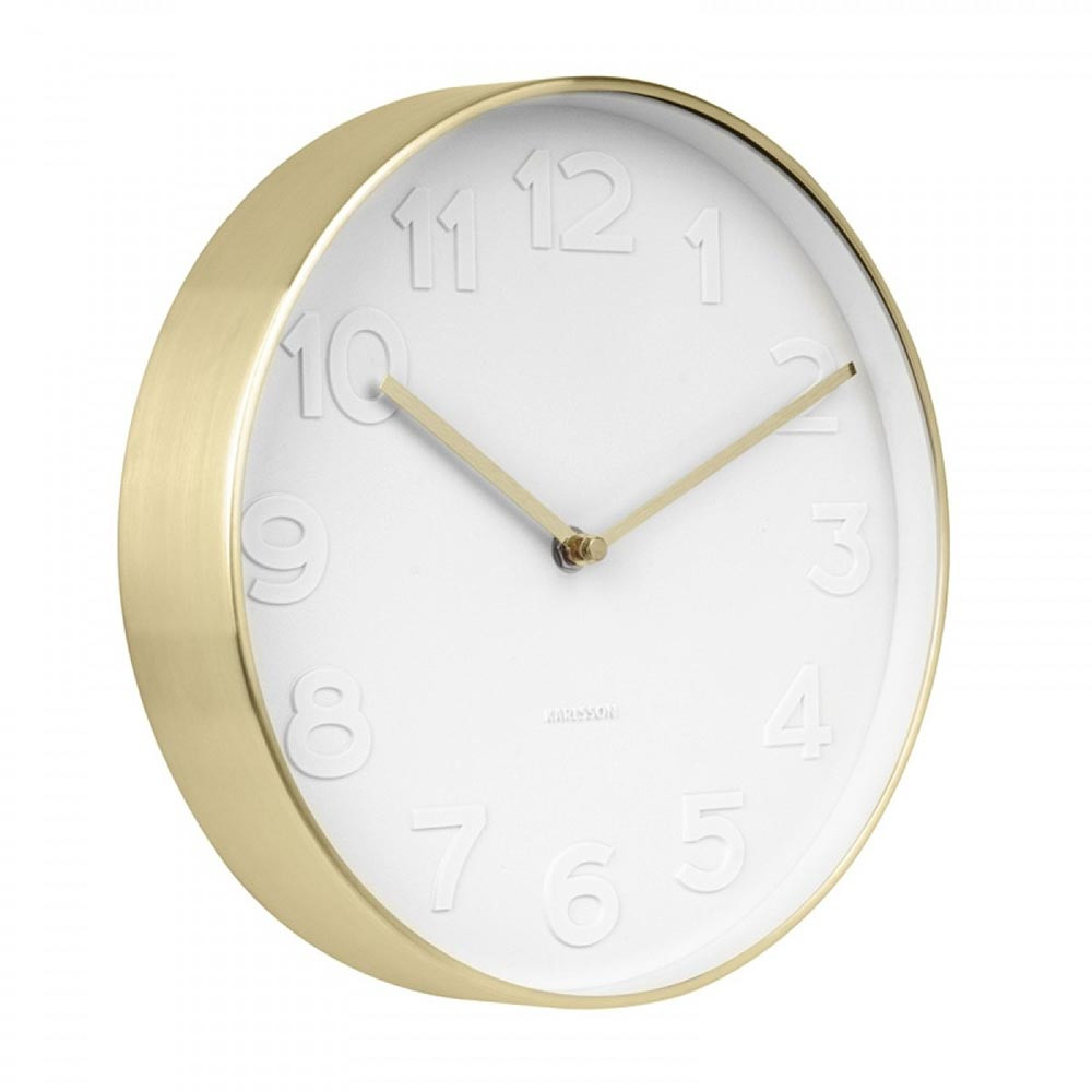 karlsson mr white numbers gold wall clock the design. Black Bedroom Furniture Sets. Home Design Ideas