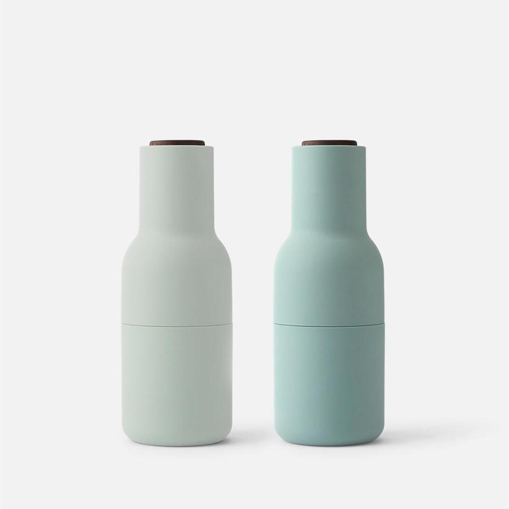 Menu Norm salt & pepper bottle grinder set in moss green with walnut lid | The Design Gift Shop