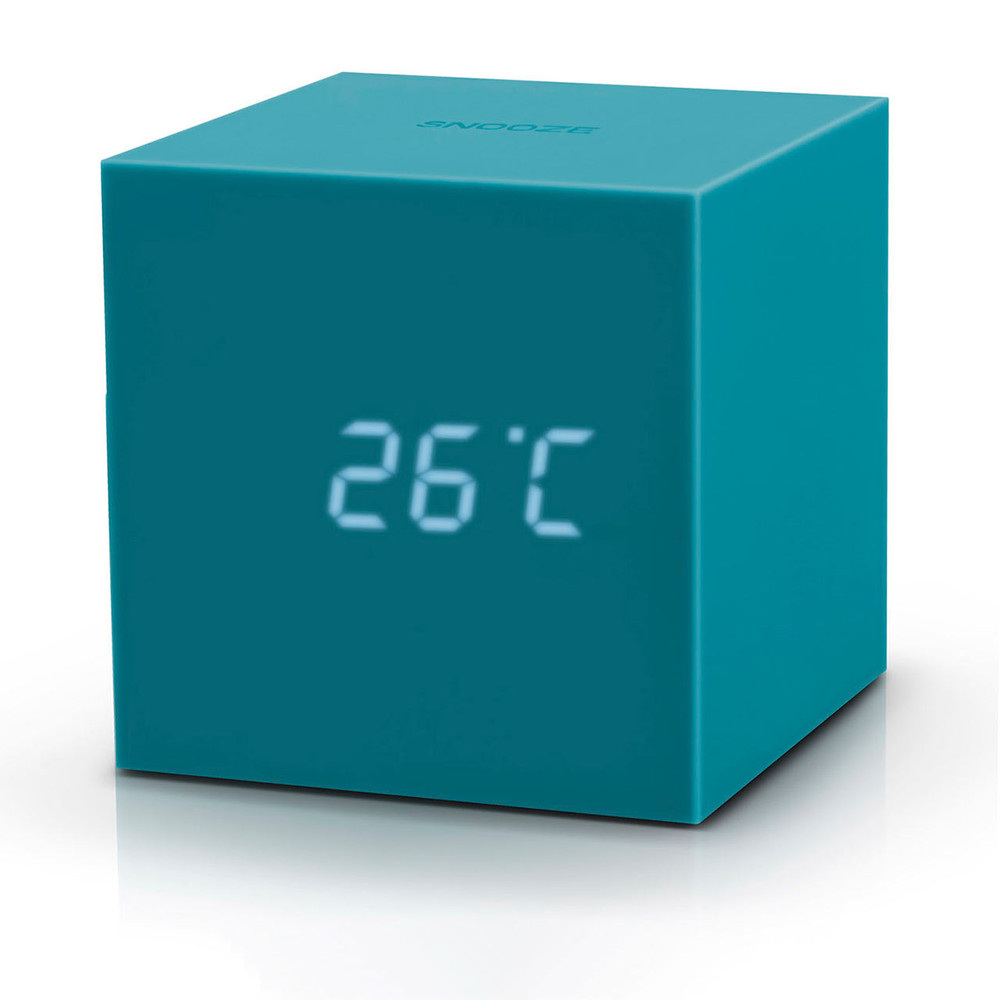 GINKGO gravity cube click clock teal   The Design Gift Shop
