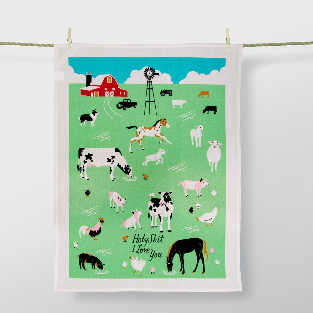 'Holy Shit I Love You' Dish Towel by Blue Q  | The Design Gift Shop