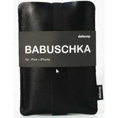 dekoop Babuschka - black leather phone case