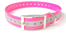 Waterproof, flexible and tough TPU dog collar fits necks up to 60cm. Hot pink and reflective stripe for more visibility in the bush.