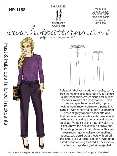 HP 40 Fast Fabulous Tailored Trackpants HotPatterns New Hot Patterns