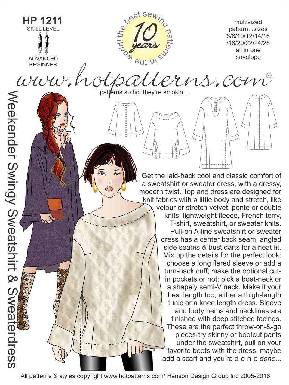 91d0b3c7407 HP 1211 A4 download Weekender Swingy Sweatshirt   Sweaterdress -  HotPatterns.com