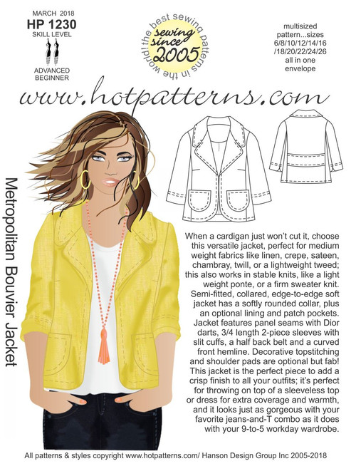 HP 40 Metropolitan Bouvier Jacket HotPatterns Awesome Hot Patterns
