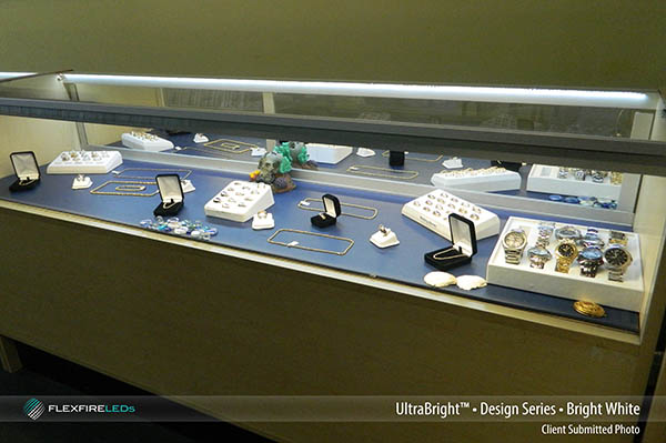 bright white LED strip light in display case example