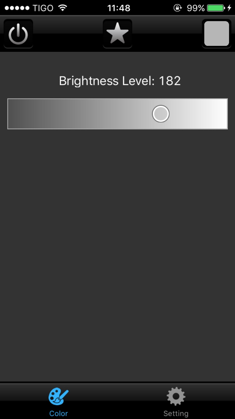 Juno LED smartphone dimmer brightness app screenshot