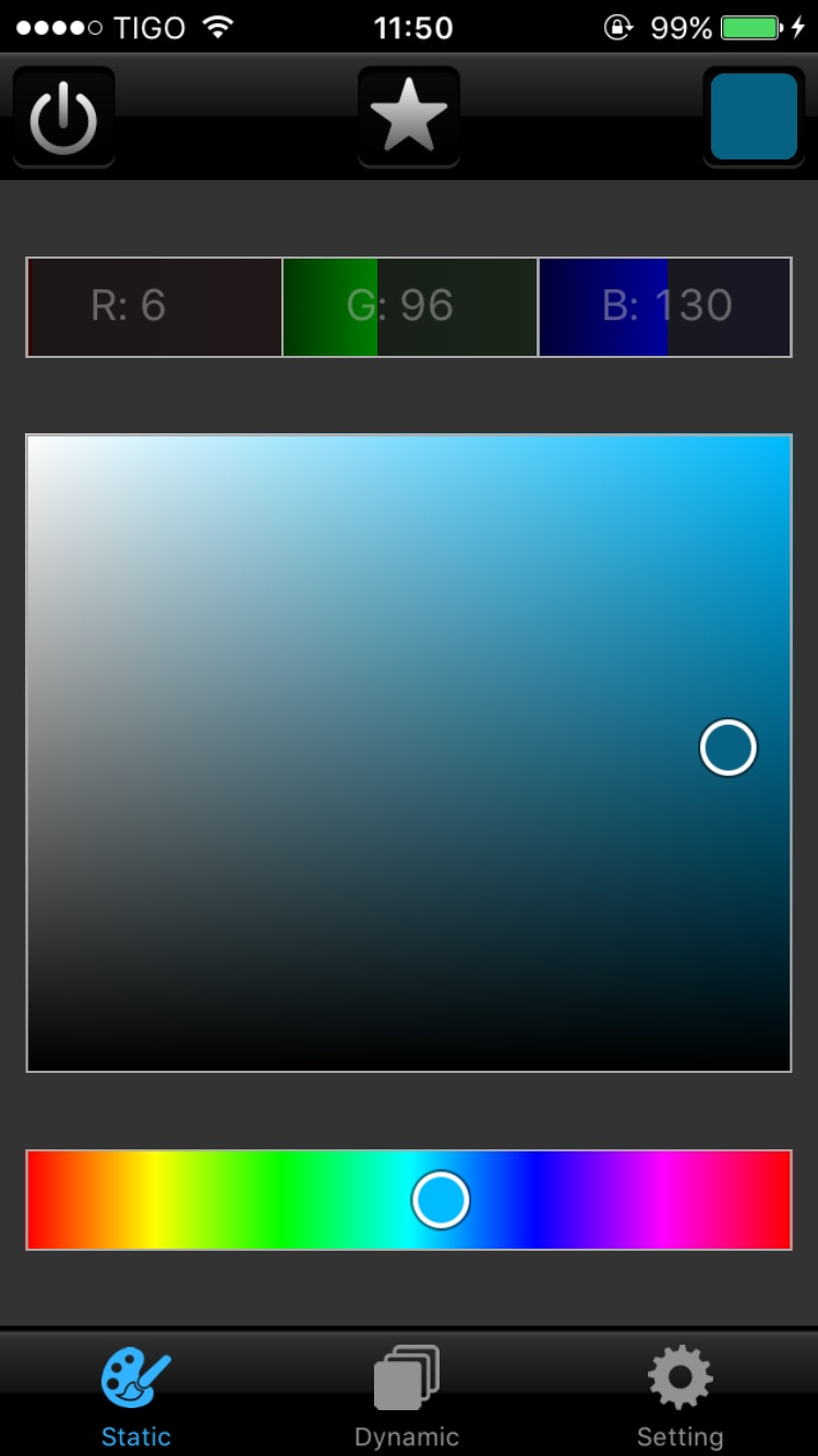 Juno RGB LED Bluetooth Static Color Selection